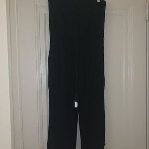 Black Cropped Strapless Jumpsuit
